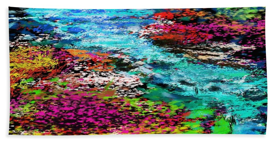 Abstract Hand Towel featuring the digital art Thought Upon A Stream by David Lane