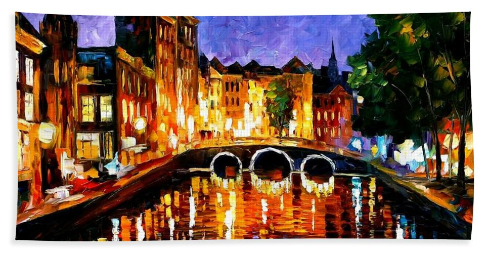 Afremov Bath Sheet featuring the painting Thoughtful Amsterdam by Leonid Afremov