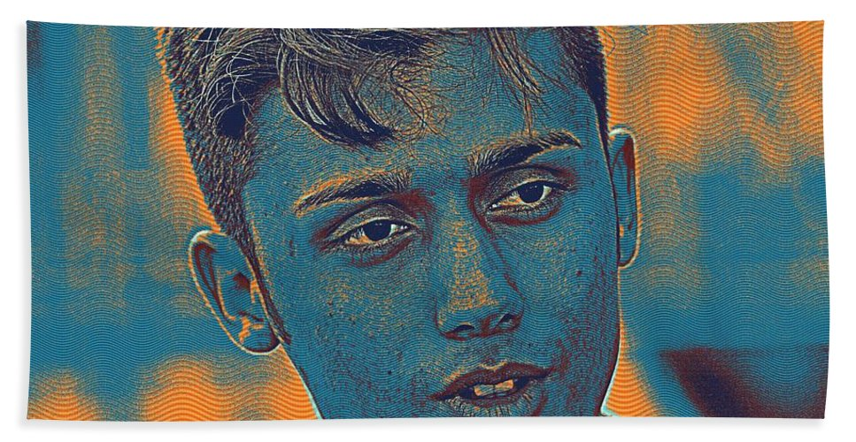 Man Bath Sheet featuring the painting Thoughtful Youth Series 27 by Celestial Images