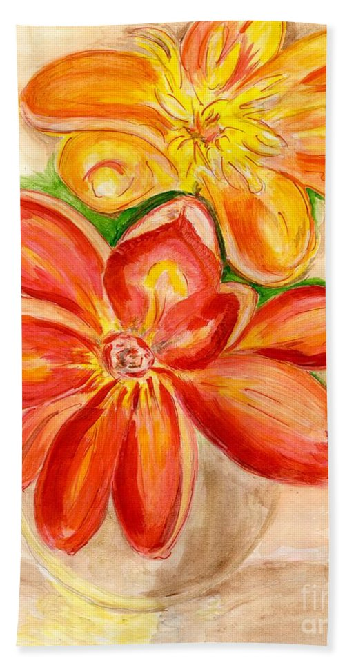 Orange Red Flowers Hand Towel featuring the painting Thoughtfulness by Anne Gitto