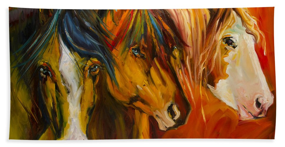 Horse Bath Towel featuring the painting Three at the Fence Line by Diane Whitehead