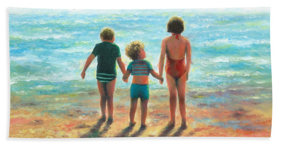 Beach Children Hand Towel featuring the painting Three Beach Children Siblings by Vickie Wade