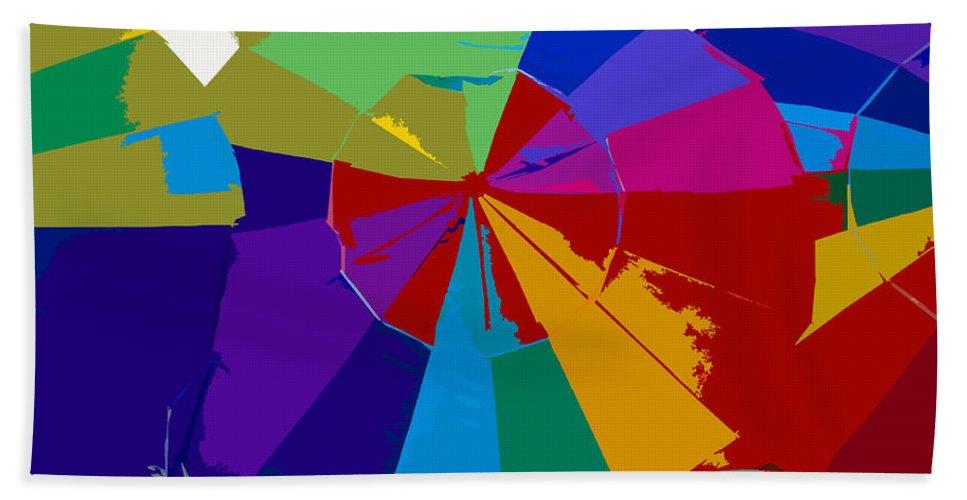 Beach Bath Sheet featuring the painting Three Beach Umbrellas by David Lee Thompson