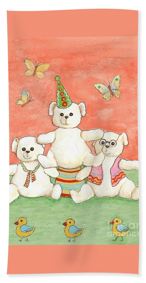 Bears Hand Towel featuring the painting Three Bears Ready For The Party by Nareeta Martin