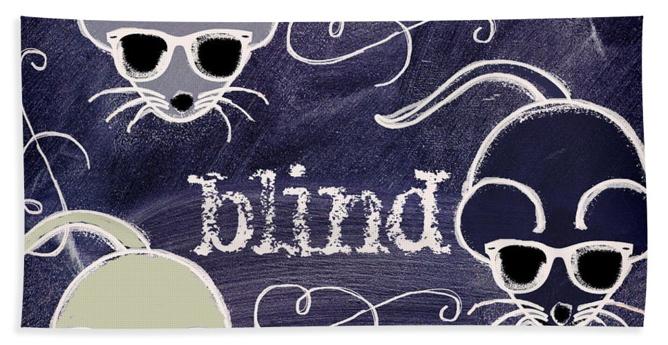Chalk Board Art Bath Sheet featuring the painting Three Blind Mice Children Chalk Art by Mindy Sommers
