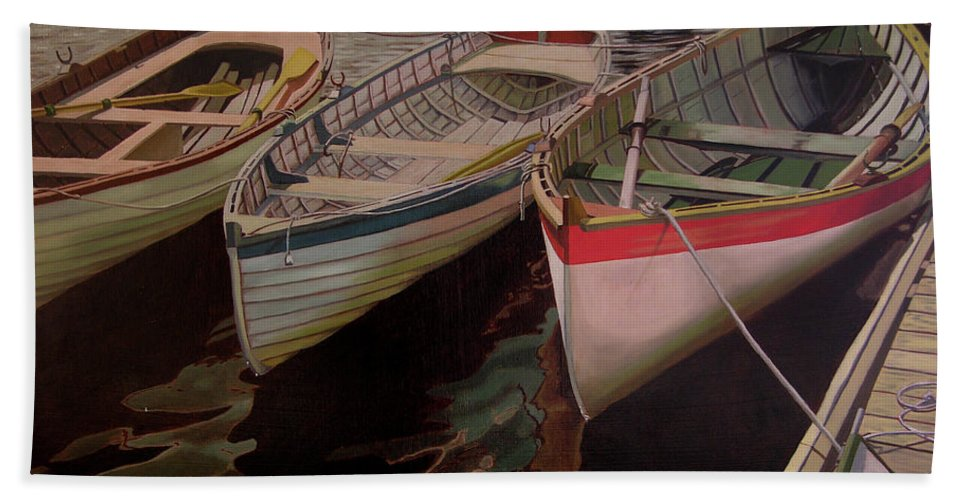 Boats Bath Sheet featuring the painting Three Boats by Thu Nguyen