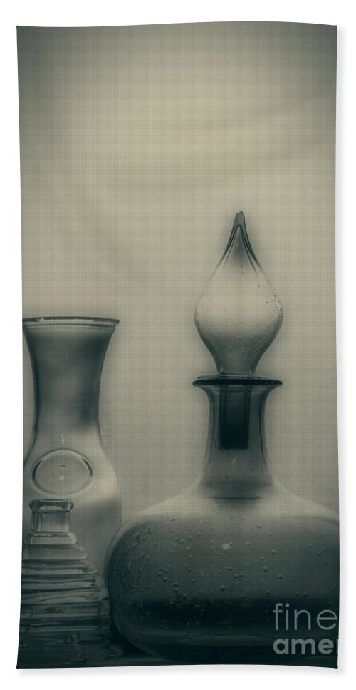 Bottle Bath Towel featuring the photograph Three Bottles by Linda Lees