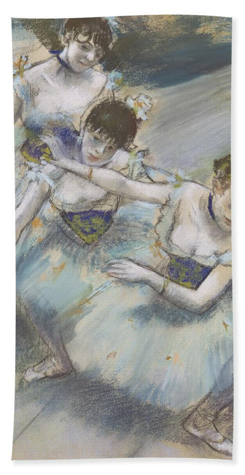 Edgar Degas Bath Towel featuring the drawing Three Dancers In A Diagonal Line On The Stage by Edgar Degas