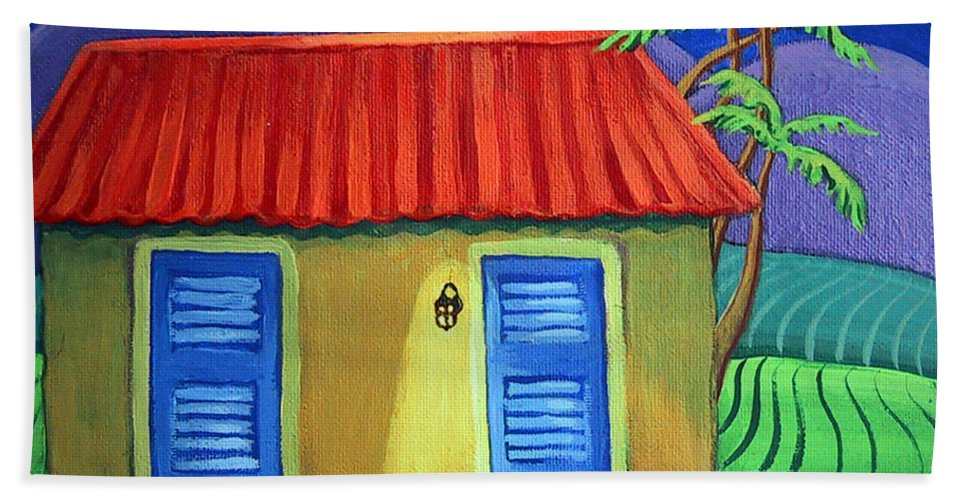 Carribean Cottage Bath Sheet featuring the painting Three Dog Night by Rebecca Korpita