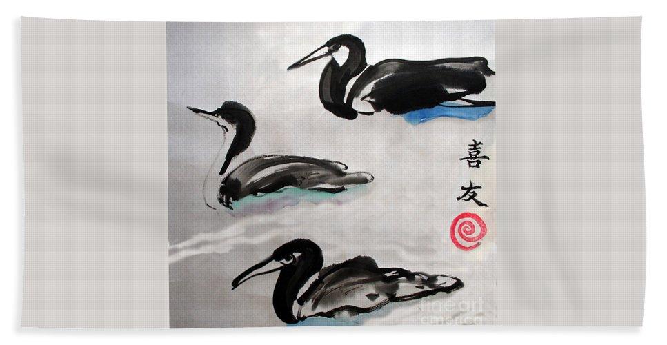 Sumi Ink Bath Sheet featuring the painting Three Ducks by Lisa Baack