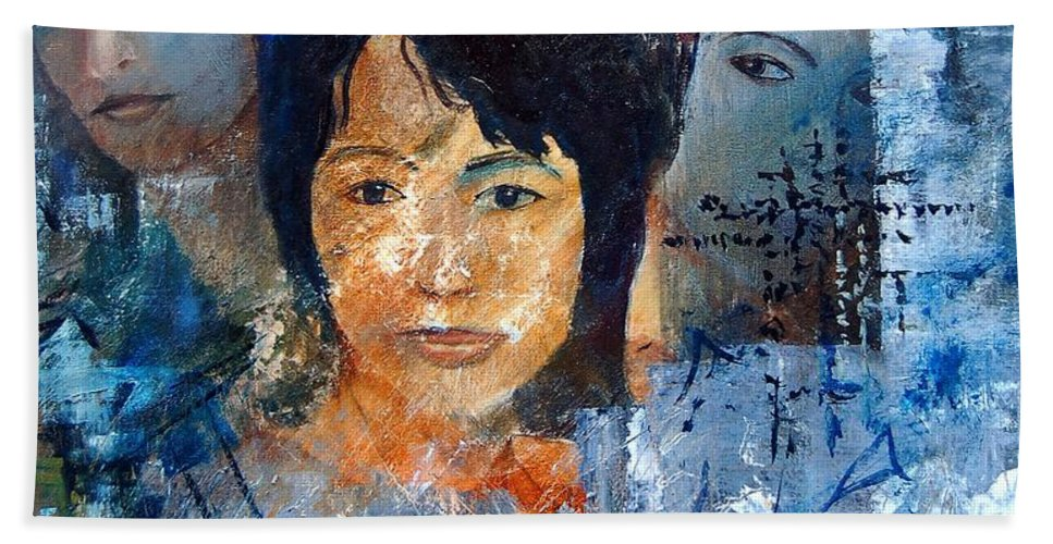 Girl Hand Towel featuring the painting Three Faces by Pol Ledent