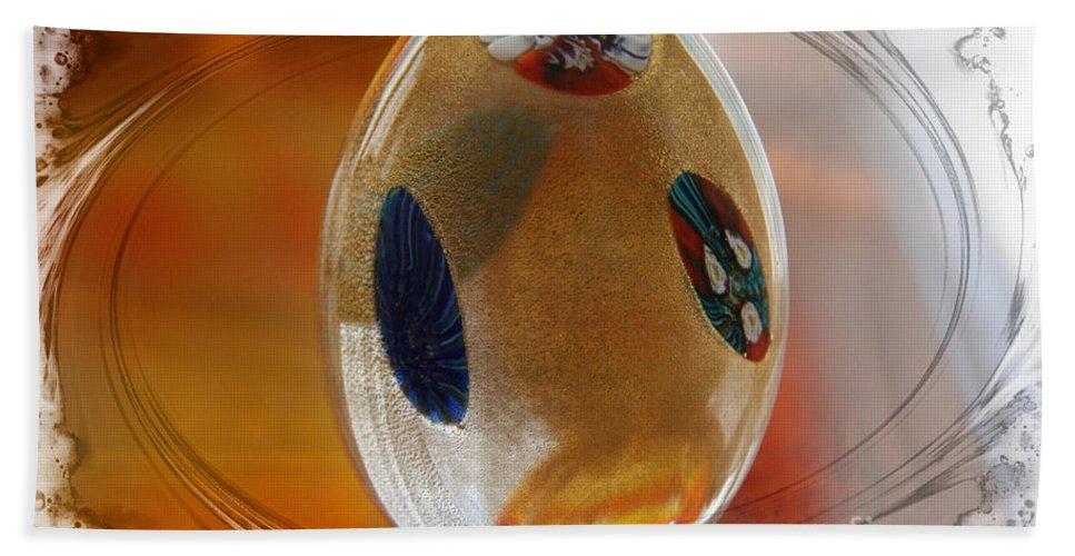 Glass Hand Towel featuring the glass art Three Fiori Murano by Jolanta Anna Karolska