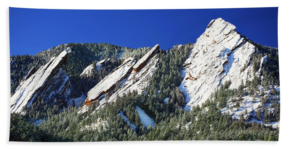 Colorado Bath Sheet featuring the photograph Three Flatirons by Marilyn Hunt