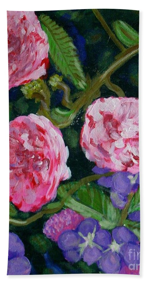 Roses Hand Towel featuring the painting Three For The Show by Laurie Morgan