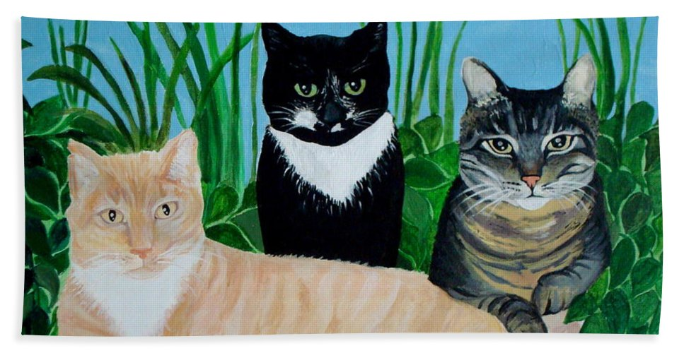 Landscape Bath Sheet featuring the painting Three Furry Friends by Elizabeth Robinette Tyndall