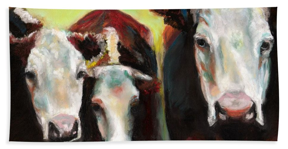 Cows Bath Sheet featuring the painting Three Generations Of Moo by Frances Marino