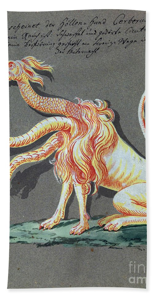 History Hand Towel featuring the photograph Three Headed Monster, 18th Century by Wellcome Images