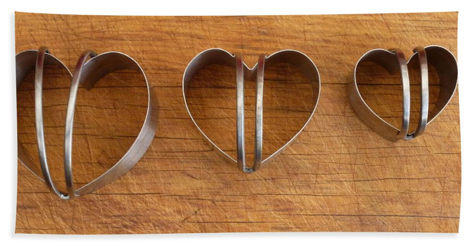 Cookie Cutter Bath Sheet featuring the photograph Three Heart Cutters by Dianne Pettingell