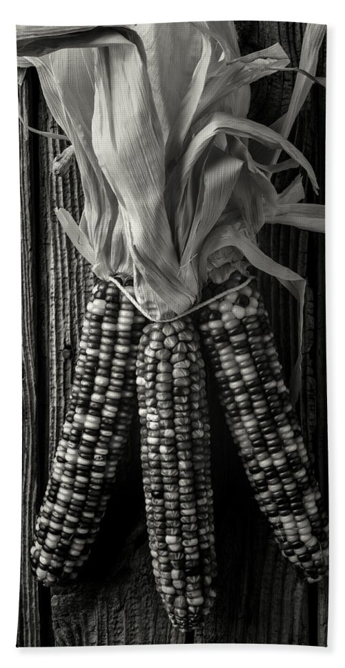 Indian Bath Towel featuring the photograph Three Indian Corn In Black And White by Garry Gay