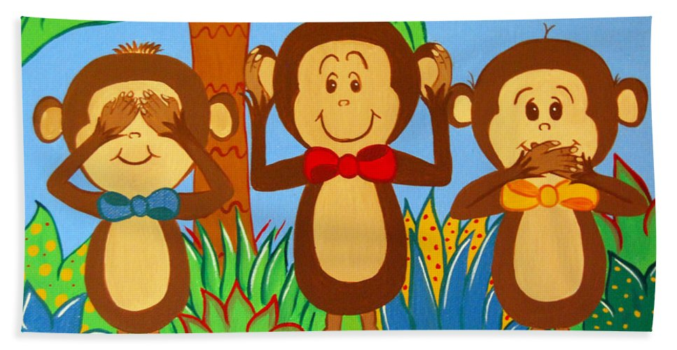 Monkeys Hand Towel featuring the painting Three Monkeys No Evil by Valerie Carpenter