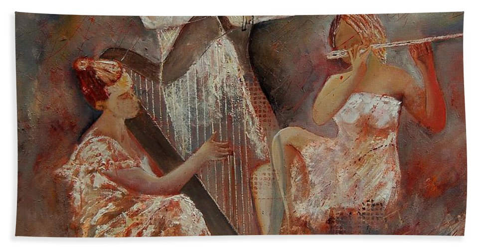 Music Hand Towel featuring the painting Three Musicians by Pol Ledent