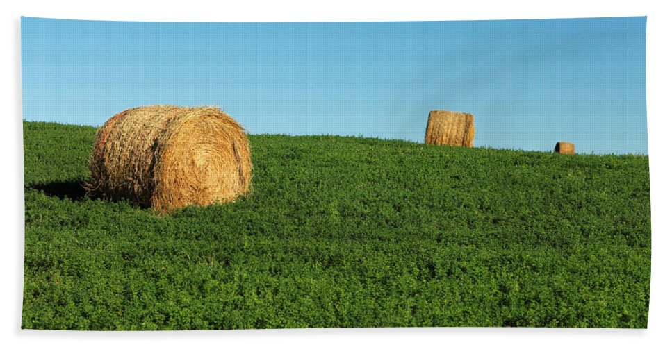 Bales Hand Towel featuring the photograph Three Old Bales by Todd Klassy