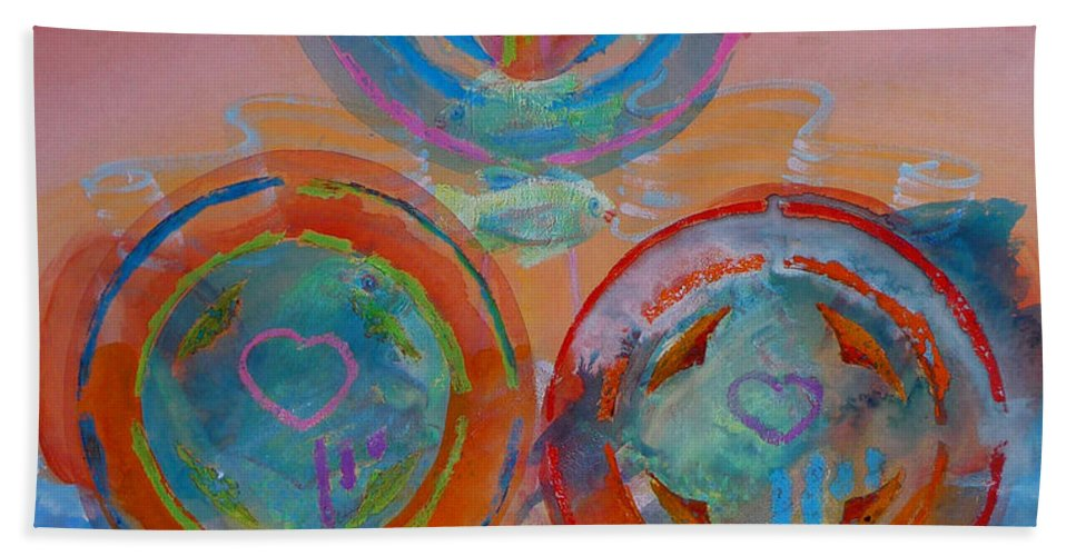 Logo Hand Towel featuring the painting Three On Marine by Charles Stuart