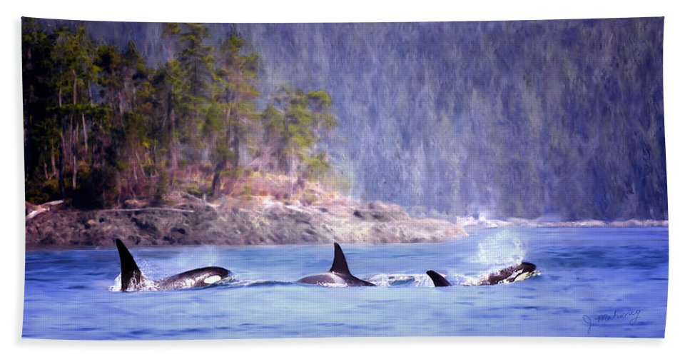 Whales Hand Towel featuring the painting Three Orca Whales by Jeanette Mahoney