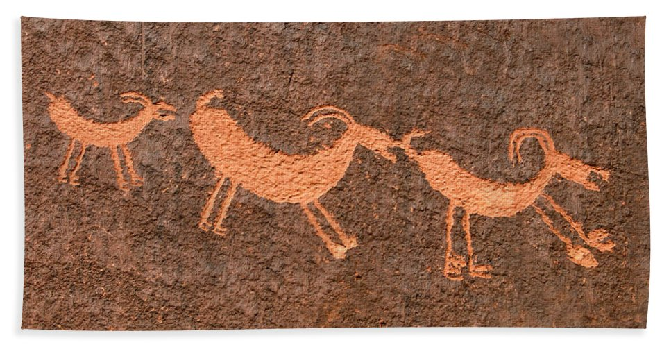 Bighorn Sheep Hand Towel featuring the photograph Three Playful Sheep by David Lee Thompson