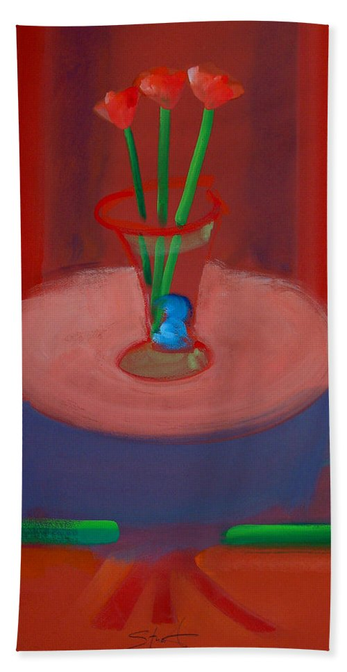 Poppies Hand Towel featuring the painting Three Poppies In A Vase by Charles Stuart