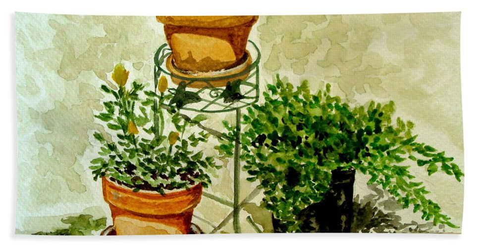 Plants Hand Towel featuring the painting Three Potted Plants by Elizabeth Robinette Tyndall