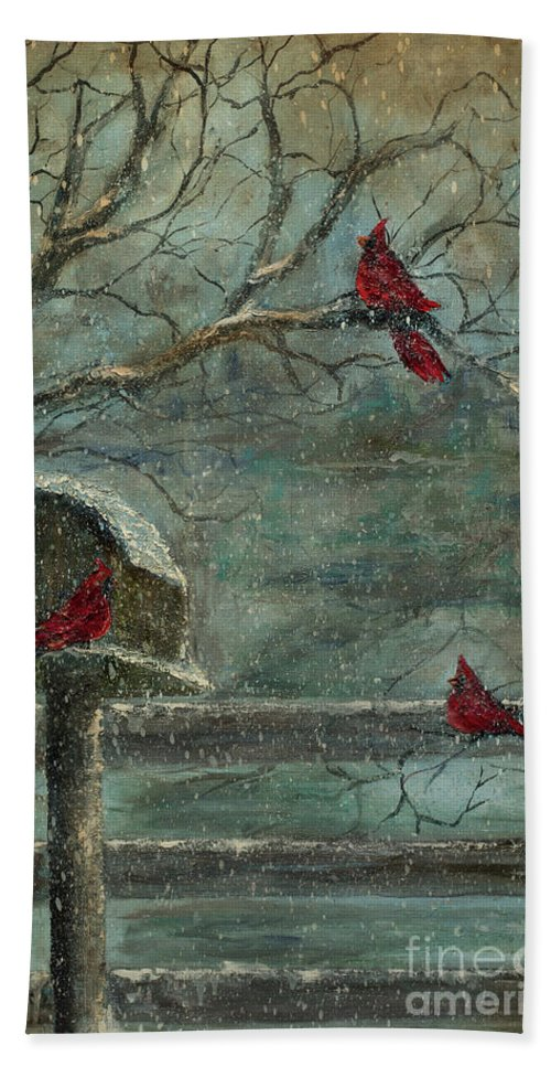Cardinals Bath Sheet featuring the painting Three Reds by Jodi Monahan