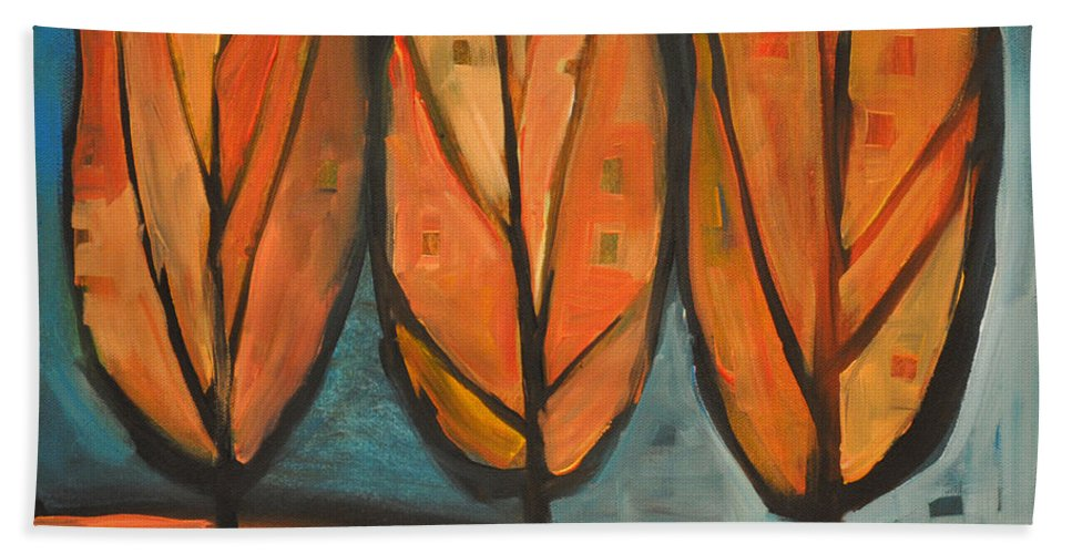 Trees Hand Towel featuring the painting Three Sisters Fall by Tim Nyberg