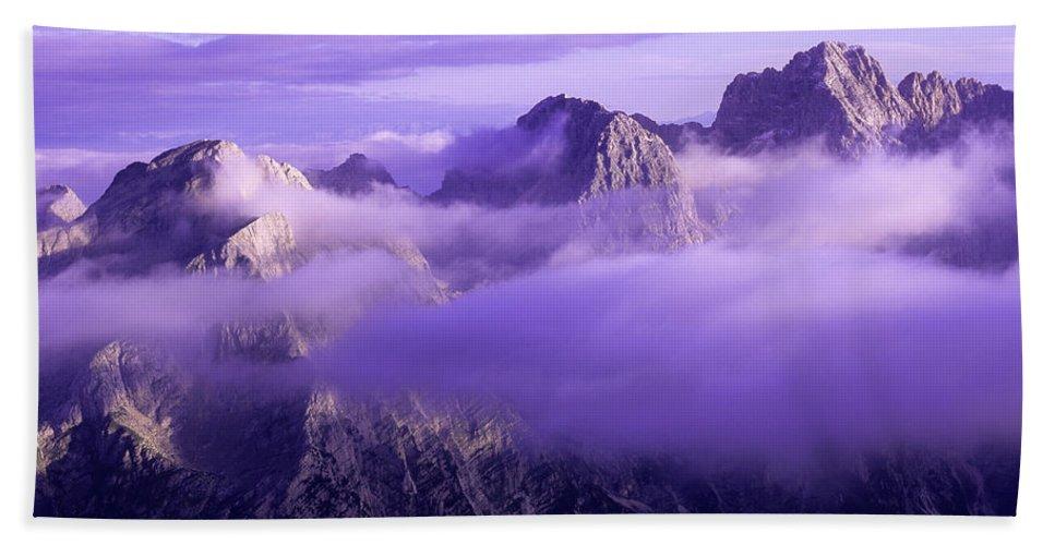 Beautiful Bath Towel featuring the photograph Three Summits. Julian Alps by Konstantin Dikovsky