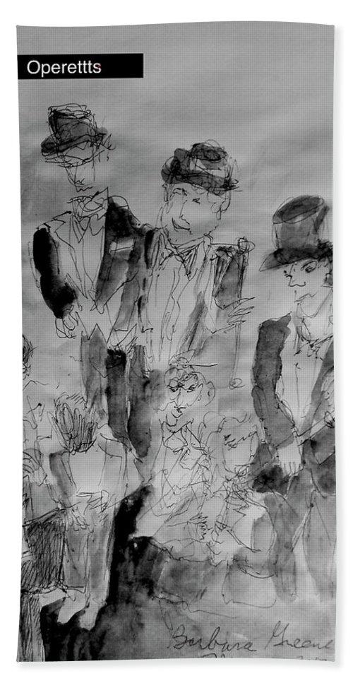 Headaches Bath Sheet featuring the painting Three Tenors And A Pianist by Barb Greene mann
