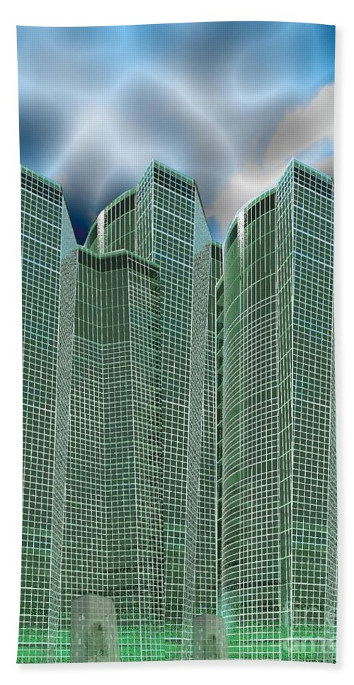 Glass Towers Hand Towel featuring the digital art Three Towers 1 by Ron Bissett