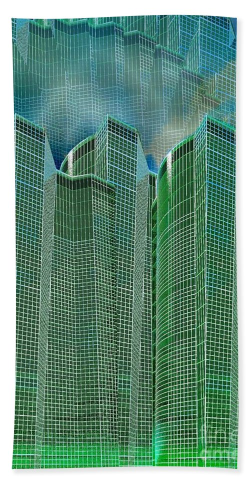Glass Tower Bath Sheet featuring the digital art Three Towers 2 by Ron Bissett