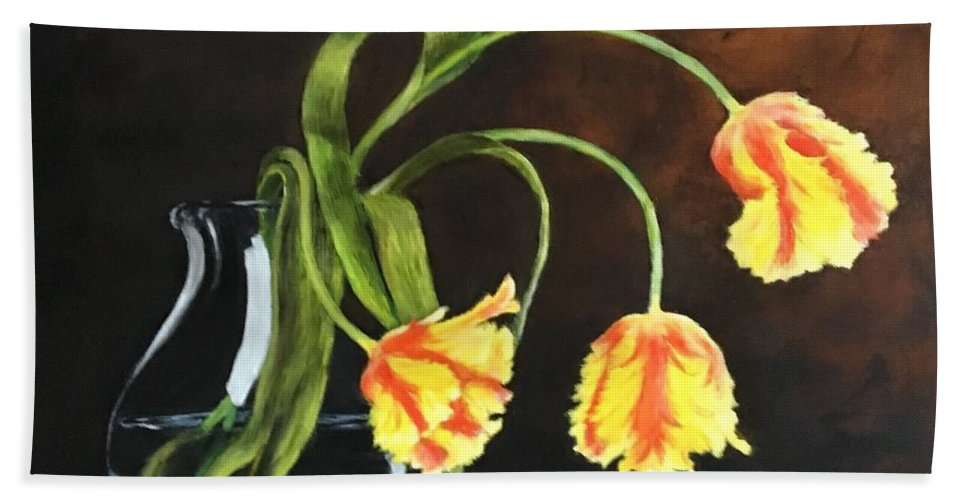 Still Life Hand Towel featuring the painting Three Tulips by Diane Donati