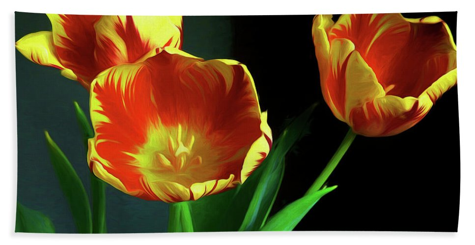 Three Tulips Photo Art Hand Towel featuring the photograph Three Tulips Photo Art by Sharon Talson