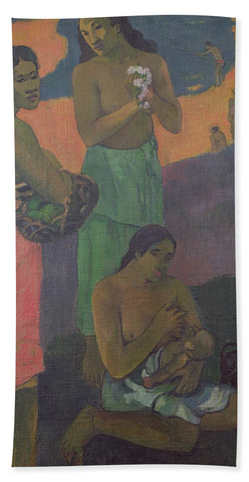 Maternity Hand Towel featuring the painting Three Women On The Seashore by Paul Gauguin
