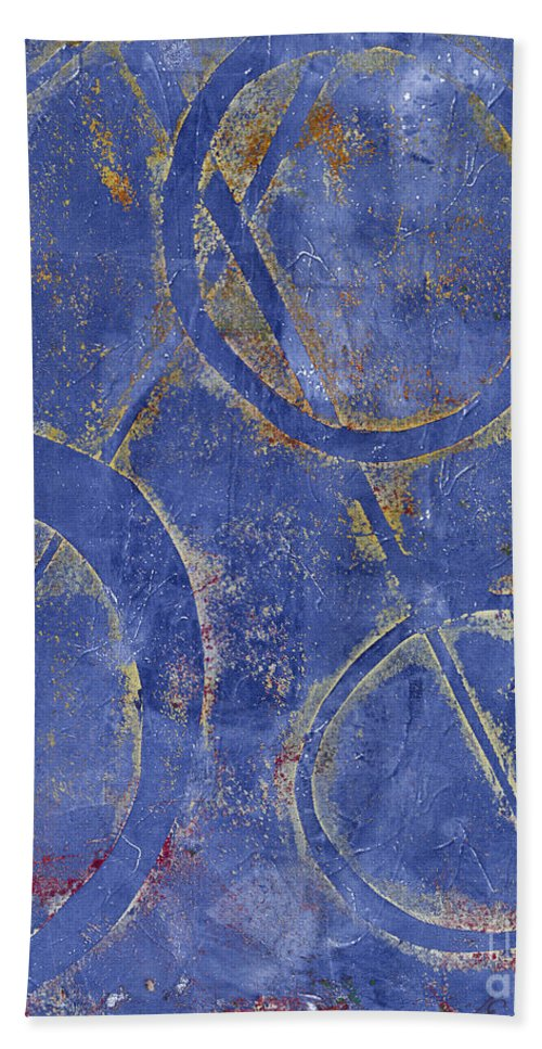 Abstract Bath Sheet featuring the painting Three Worlds 2 by Laurel Englehardt