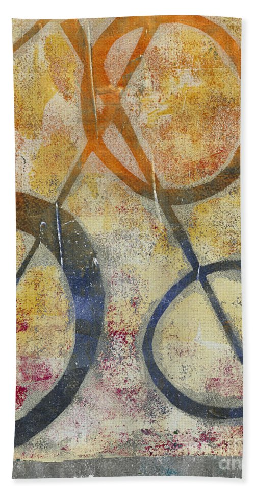 Abstract Bath Sheet featuring the painting Three Worlds I by Laurel Englehardt