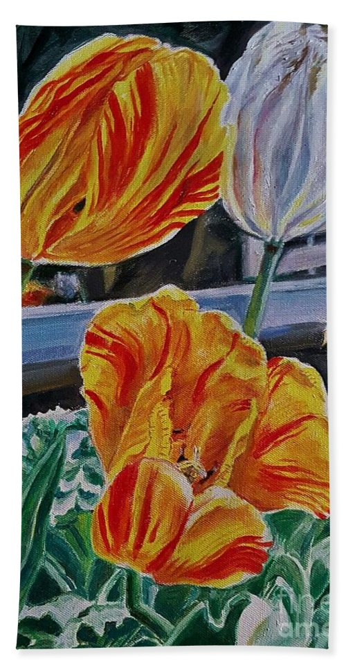 Tulips Hand Towel featuring the painting Three's A Crowd by Manju Chau