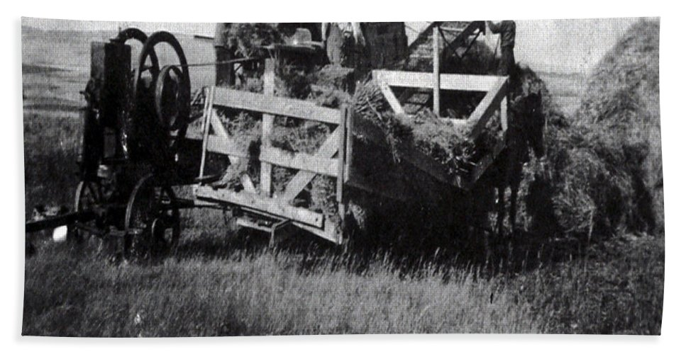Old Photo Black And White Classic Saskatchewan Pioneers History Thresher Farming Bath Sheet featuring the photograph Threshing Day by Andrea Lawrence