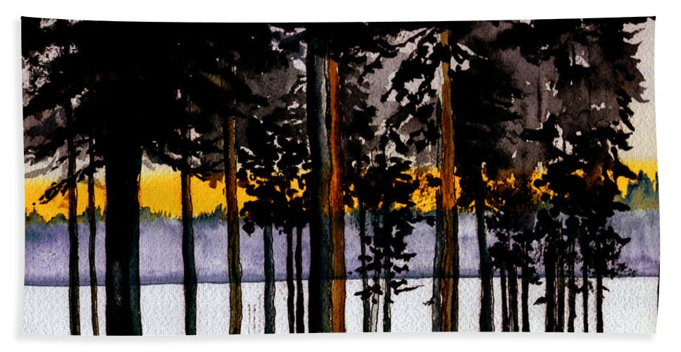 Watercolor Hand Towel featuring the painting Through My Woods by Brenda Owen