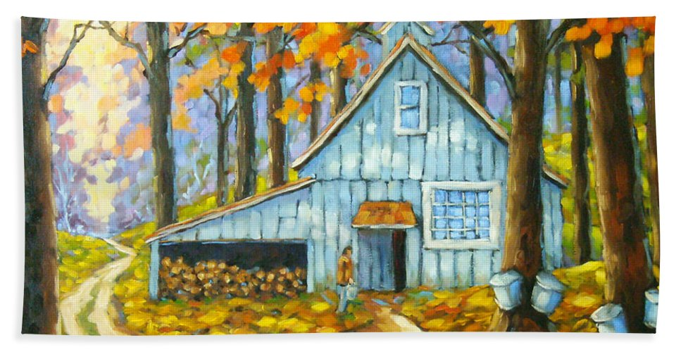 Sugar Shack Hand Towel featuring the painting Through The Deep Woods by Richard T Pranke