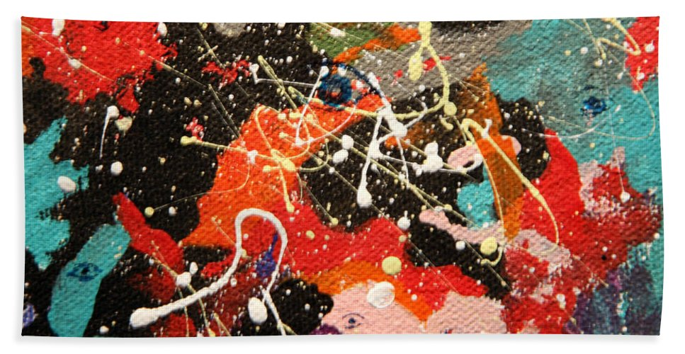 Abstract Hand Towel featuring the mixed media Through The Eyes Of The Universe by J R Seymour