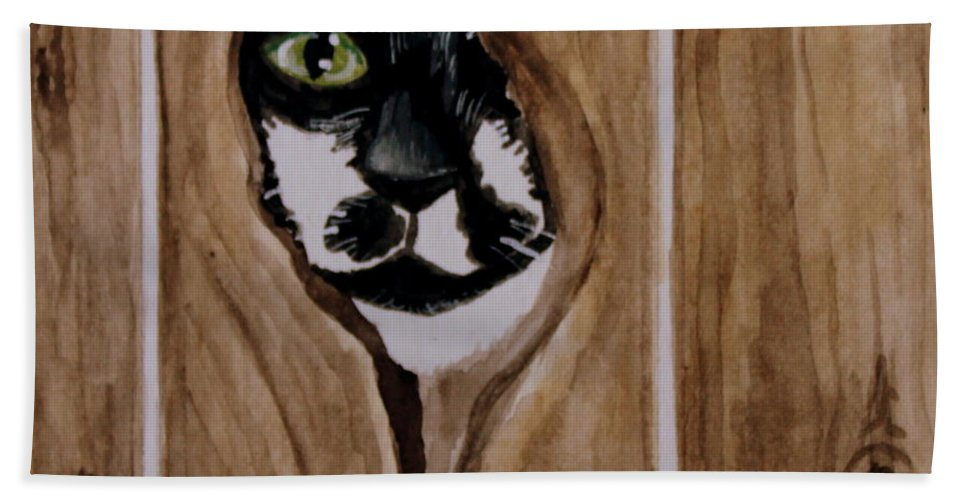 Cats Bath Sheet featuring the painting Through The Knothole by Elizabeth Robinette Tyndall