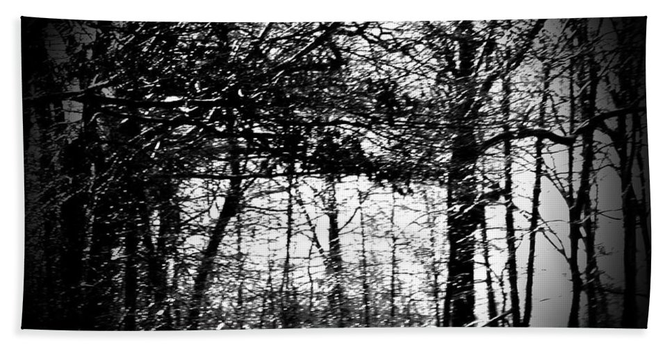 Trees Bath Sheet featuring the photograph Through The Lens- Black And White by Charleen Treasures