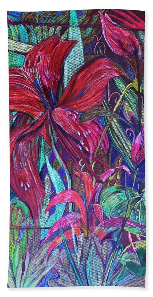 Day Lily Bath Sheet featuring the drawing Through the Looking Glass Garden by Mindy Newman